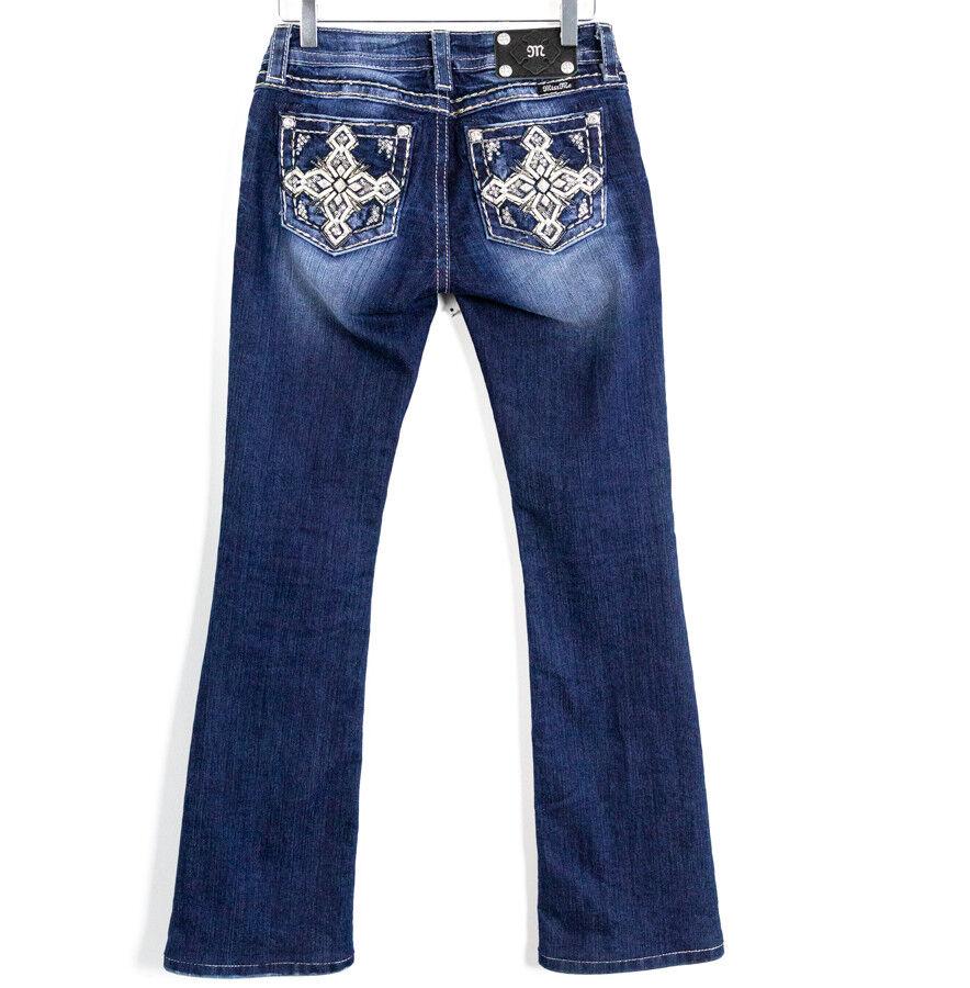 Miss Me Dark Wash Signature Boot Embellished Cross Women's Jeans Size 26 denim