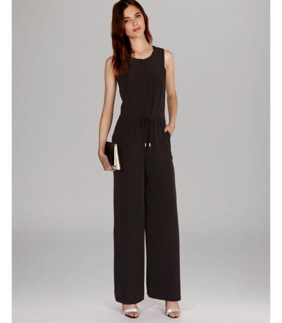 821f74422881 Karen Millen Black Sporty Zip Wide Leg All In One Trousers Jumpsuit Dress  Up 12