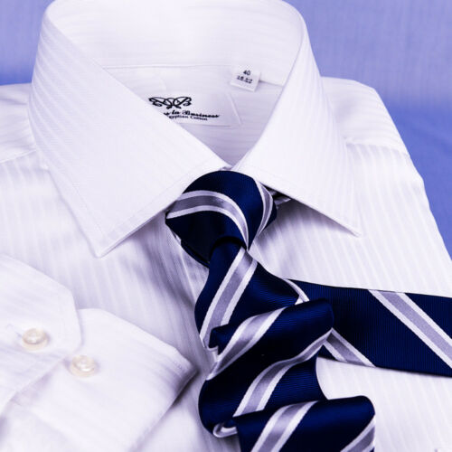 White Striped Formal Business Dress Shirt Mens Solid Color Classy Fashion Style