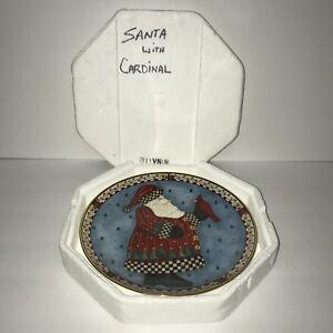 Franklin-Mint-Royal-Doulton-A-Christmas-Greeting-Santa-Cardinal-Plate-HA9526