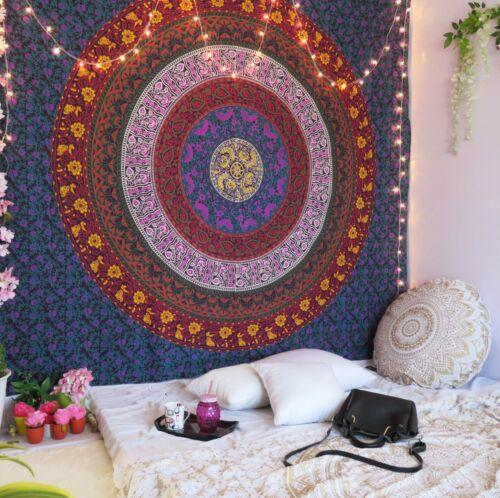 Indian Queen Tapestry Wall Hanging Handmade Bohemian Queen Size Bedsheet Decor