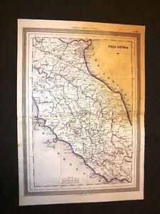 Cartina Geografica Lazio E Toscana.Carta Geografica O Mappa Marmocchi 1876 Italia Centrale Lazio E Toscana Ebay