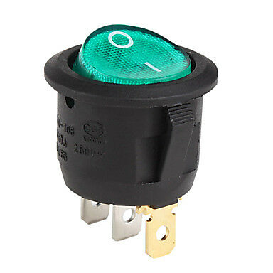 New 12V Green Lighted Round Rocker Toggle Switch Car Truck RV Boat ATV Home