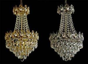 korbl ster kronleuchter mit echtem kristall verf gbar in gold o chromfarben ebay. Black Bedroom Furniture Sets. Home Design Ideas
