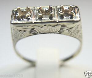 antique engagement setting 14k white gold ring size 7 uk