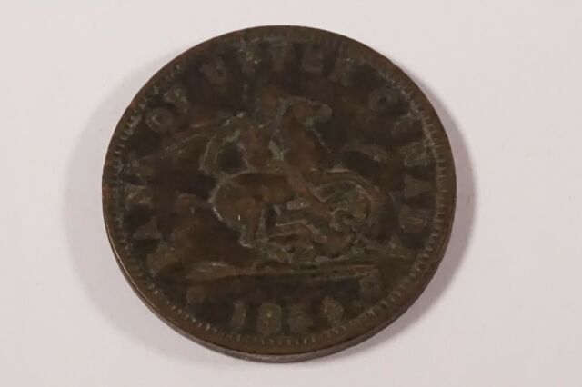 PROVINCE OF CANADA 1854 - CROSSLET 4 - ONE PENNY TOKEN PC-6C2 !!  #MON-232