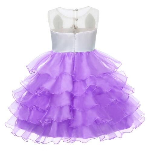 Kid Flower Girl Unicorn Princess Tutu Tulle Dress Wedding Birthday Party Gown UK