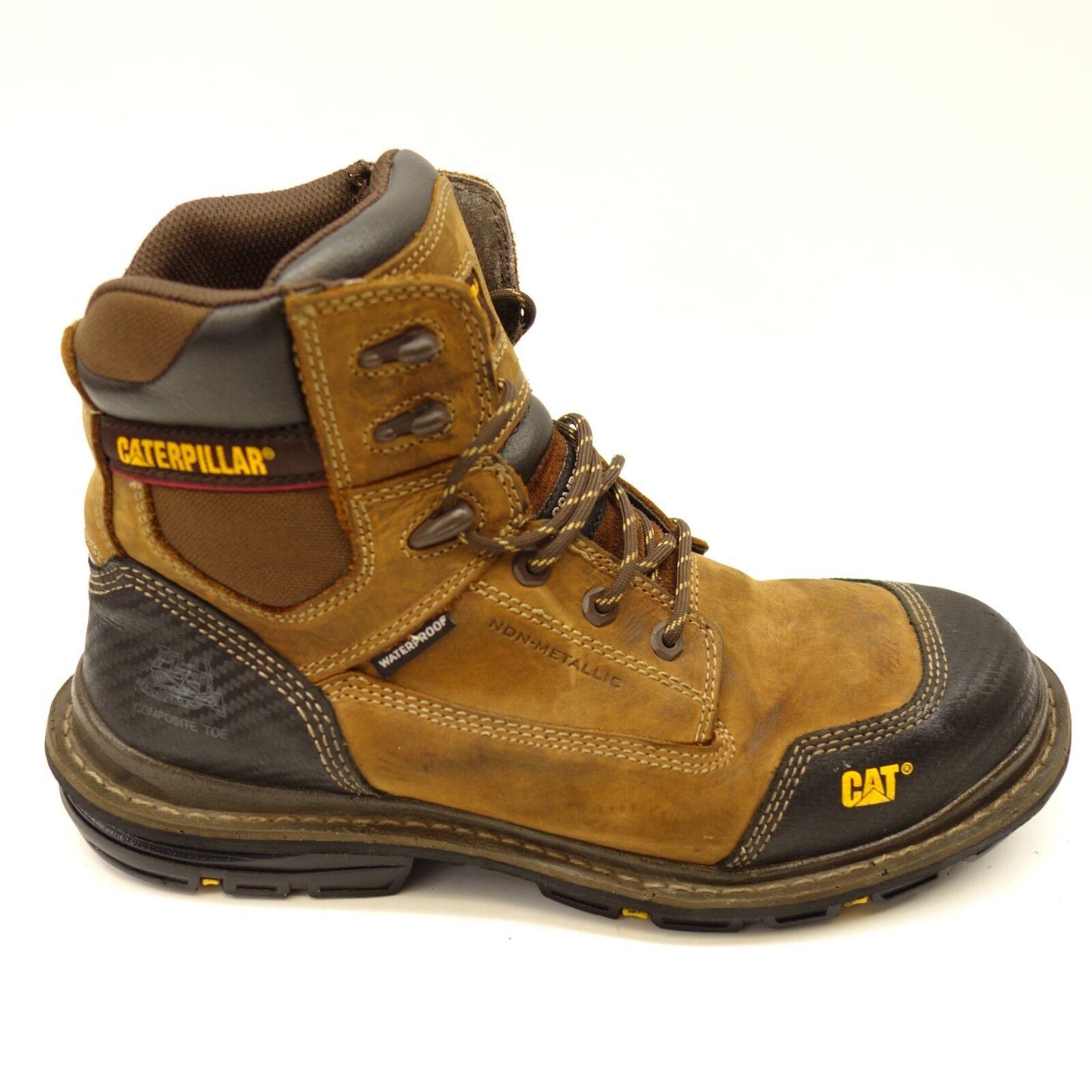 Caterpillar Mens Brown Fabricate Tough Waterproof Composite Toe Work Boot US 12