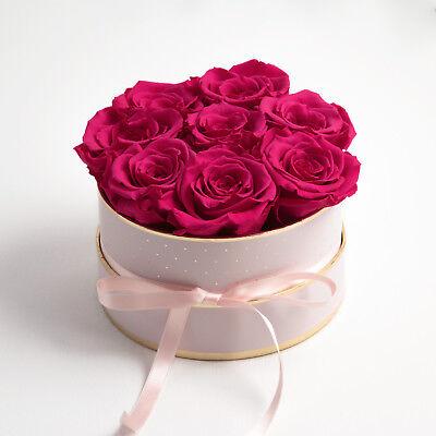 Rosenbox rosa rund Infinity ewige Rosen Flowerbox konservierte Rose lang haltend