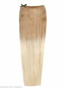 Golden-Brown-Bleach-Ombre-OM1260-Halo-100-Indian-Remy-Human-Hair-Extensions