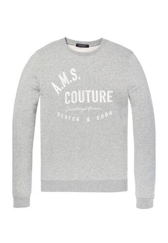 Scotch /& Soda Sweater Men Classic Sweater with Logo Chest Artwork 145460 Grey 06
