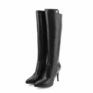 Women-039-s-Synthetic-Leather-Shoes-Slim-High-Heels-Zip-Up-Knee-Boots-AU-Size-b082