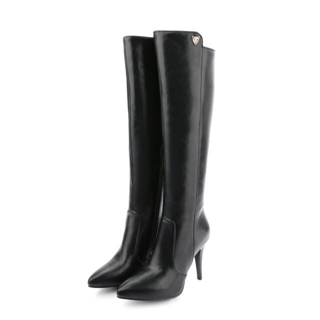 Women's Synthetic Leather Shoes Slim High Heels Zip Up Knee Boots AU Size b082