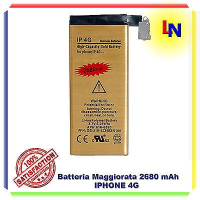 Batteria interna MAGGIORATA GOLD ricambio per IPHONE 4 G 2680mAh - ZERO CICLI