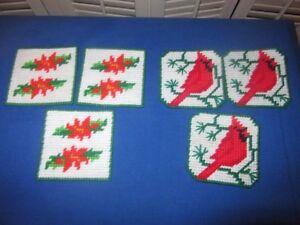 Plastic Canvas Christmas Coaster Patterns.Details About Vtg Hm Plastic Canvas Needlepoint Cardinal Poinsettia Christmas Coaster Set