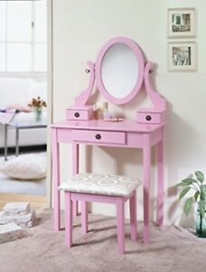 Pink Vanity Set Chair Stool Table Wood Makeup Dressing Kids Bedroom