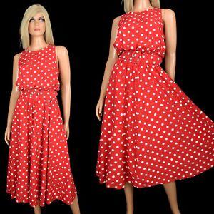Vintage-80s-90s-My-Michelle-RED-POLKA-DOT-DRESS-Pretty-Woman-Swishy-Sundress