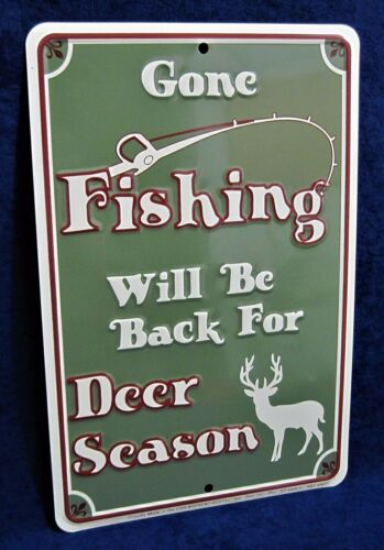 GONE FISHING *US MADE* Embossed Sign Man Cave Garage Shop Bar Pub Wall Decor