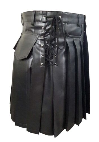 Véritable homme en cuir Noir Gladiateur plissée kilt plat poche avant wrap style