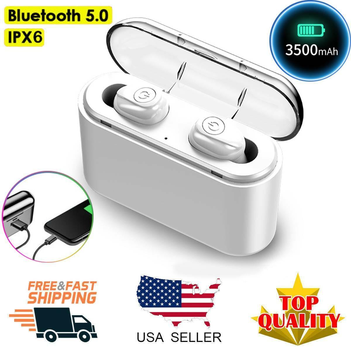 US Waterproof Bluetooth 5.0 Earbuds Earphones Wireless Heads