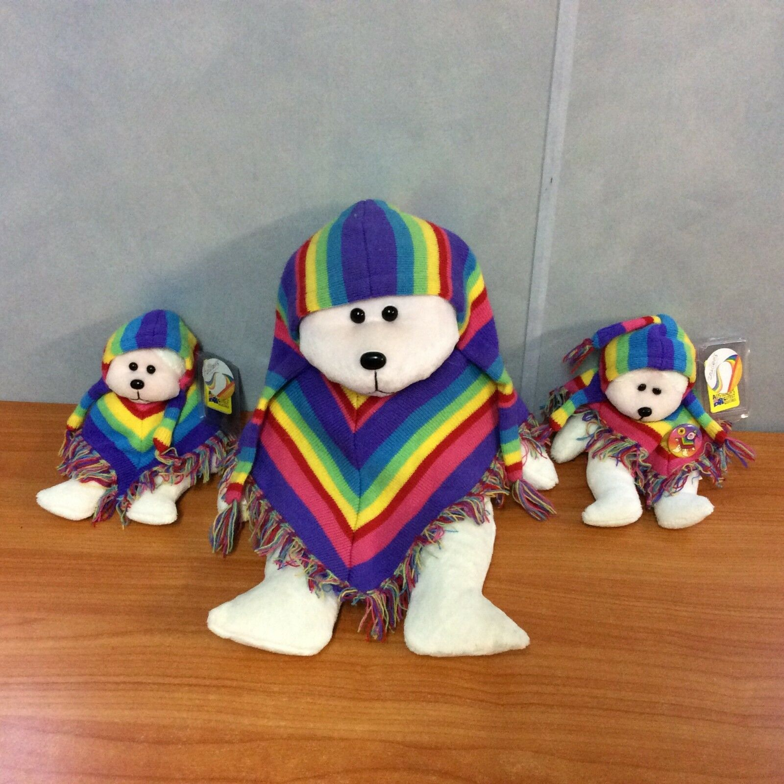 Lot of 3 Skansen Cuddly & Beanie Kids - Zaidee The Rainbow Poncho Bear w  Tags