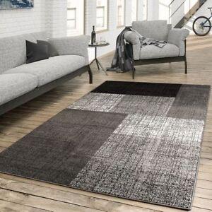 Details Zu Teppich Für Das Wohnzimmer Kariert Modern Grau Schwarz Braun Meliert