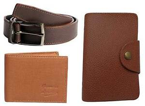 Faux-Leather-combo-of-Wallet-and-Belt-and-card-PU-Leather-Card-Holder-in-Brown