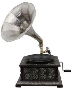 Radio, Phonograph, Tv, Phone Helpful Grammophon Gramophone Dekoration Trichter Grammofon Messing Antik-stil X04