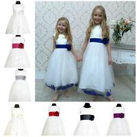 Flowergirl Dress Bridesmaid Petals Kids Baby Wedding Princess Girls Dress Flora