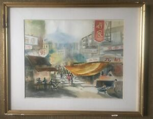 Watercolour-Painting-China-Busy-Street-Scene-Signed-Tiklang-Mounted-And-Framed