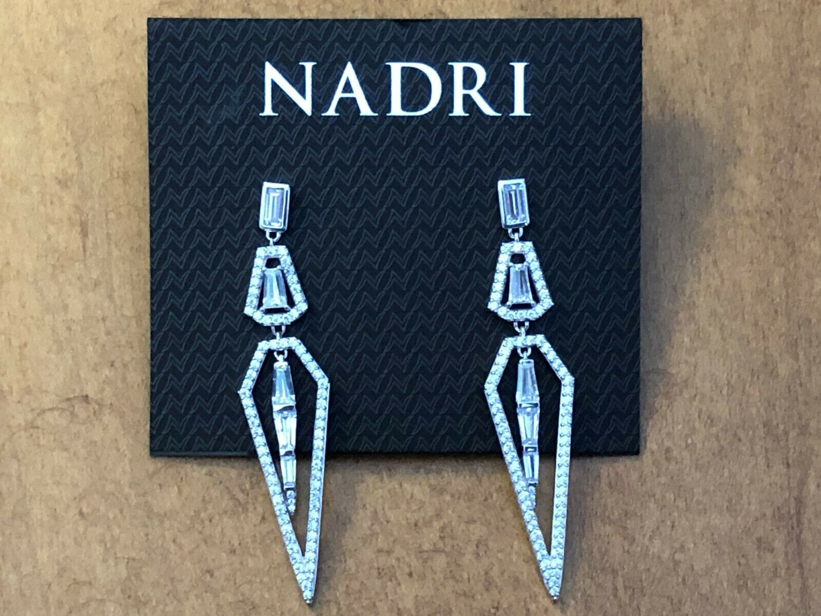 Nadri Rhodium Plated Cubic Zirconia Pointed Drop Earrings, NWT  95