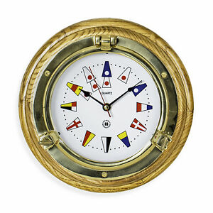 Details About Wall Clocks Br Porthole Clock With Nautical Flag Dial Face Oak Base