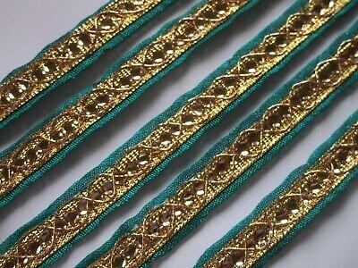 Borte elegante Nichtelastisch Gold Grün 1.2cm Breit # BB 677 s