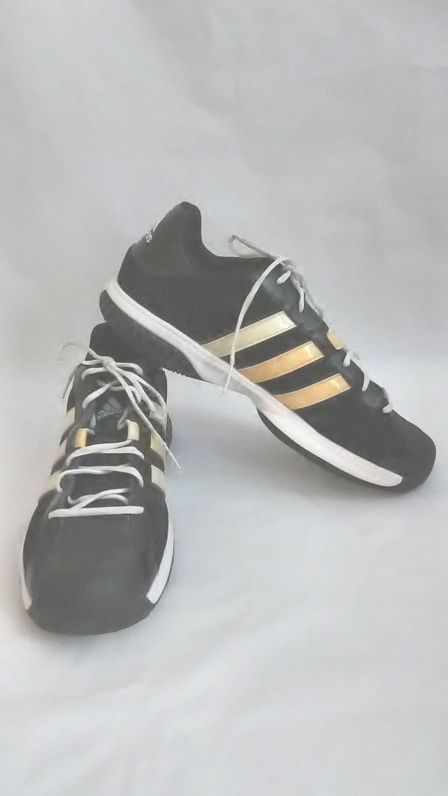 Adidas Men's Fit Foam Black Yellow Sz 17 Athletic Sneaker Gym Running Shoes EUC Wild casual shoes