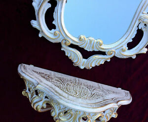 Mobiliar & Interieur Antik Wandspiegel Mit Wandkonsole Spiegel 50x76 Antik Barock Spiegelablage Weiß