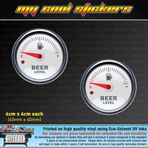 Beer Gauge 2 x 4cm Vinyl Sticker Decal, 4X4 ute Car window