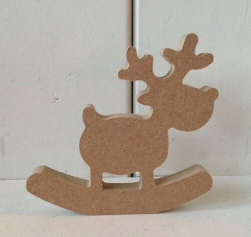 1 x ROCKING REINDEERS 15cms FREESTANDING MDF Wooden CHRISTMAS Craft Decoupage