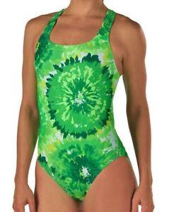 2d2e4f592d507 SPEEDO Burst Drop Back Green White Swim Suit Womens Girls Sz 0 26 2 ...