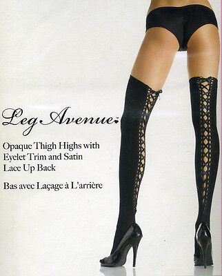 LA 6289 Stockings Thigh High Opaque Corset Top EYELET LACEUP Back Seam Black Reg