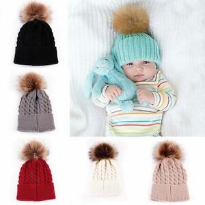 Details about New Baby Boy Girl Fur Pom Hat Winter Warm Crochet Knit Bobble  Beanie Cap New a0a97f3e271