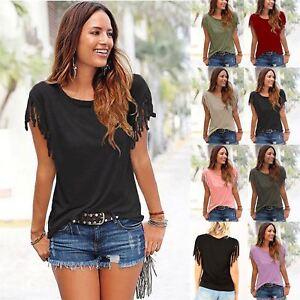 Ladies-Womens-Short-Sleeve-Fringe-Loose-Summer-Top-Casual-Blouse-T-Shirt-Tops-UK