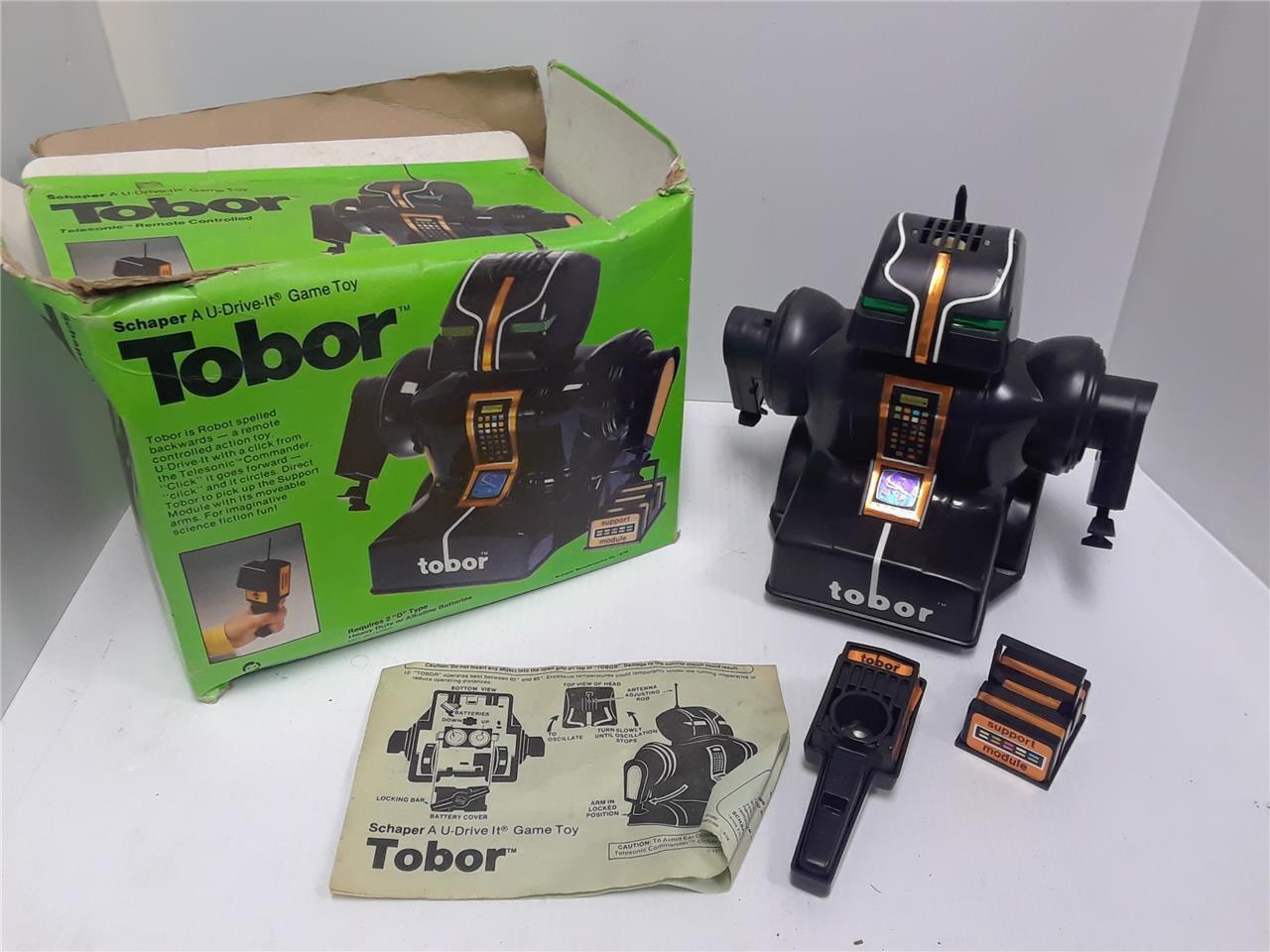 Vintage 1978 Schaper Telesonic Radiocontrollato Rc Robot in Scatola Lavori