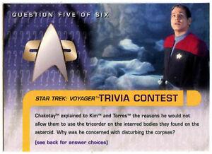 Star Trek Voyager Season 1 Series 2 Trade Card Trivia Contest 1//6 #58 C398