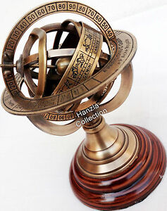 Brass-Armillary-Sphere-Astrolabe-On-Wooden-Base-Maritime-Collectible-Nautical