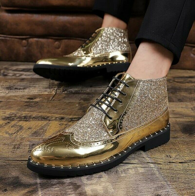 Mens Pointed Toe Rhinestone Hollow Out Sequin Wedge High Top Ankle Boots Fashion