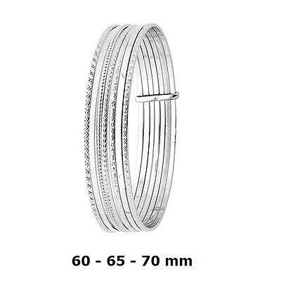 Bracelet Rhodié Jonc Identité Flexible Argent Massif 925 60mm Dolly-Bijoux