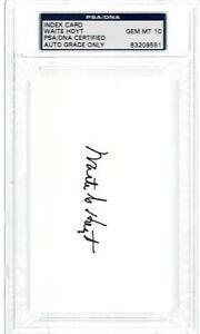 HOF, WAITE HOYT, SIGNED INDEX CARD, PSA/DNA GEM MINT 10