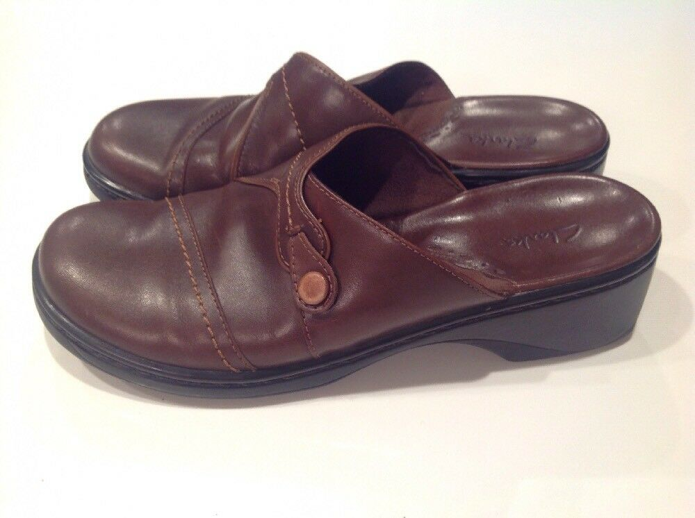 Clarks Womens 8 Brown Leather Wedges Size 8 Womens M 26fe27