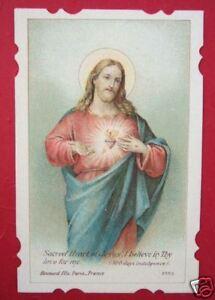 Vintage-Catholic-Holy-Card-Sacred-Heart-Jesus-Scalloped-edges-Boumard-Fils