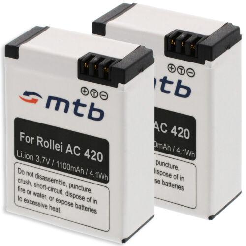 2x Batería para Rollei Action Cam AC 420